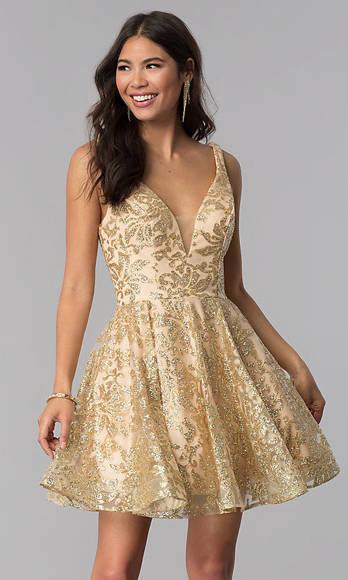 Image of JVNX by Jovani v-neck gold glitter homecoming dress. Style: JO-JVNX65985 Front Image