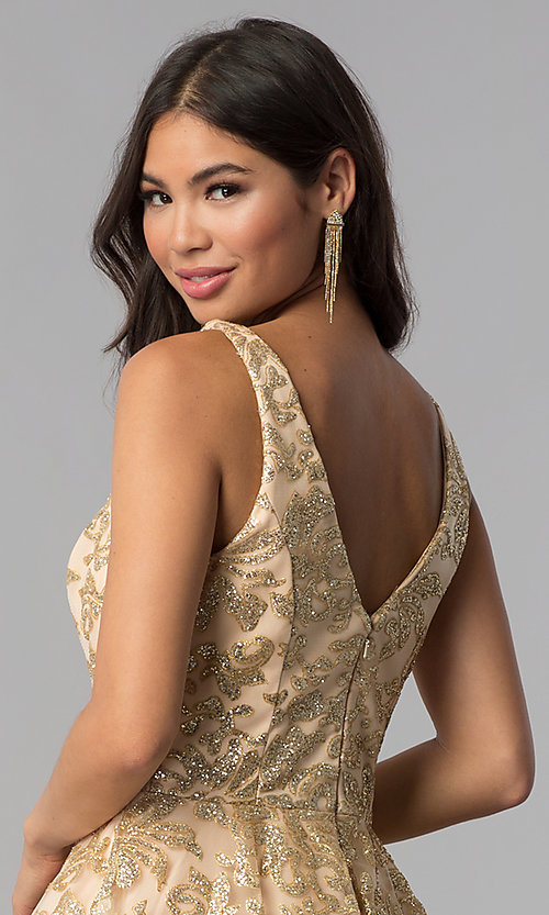 Image of JVNX by Jovani v-neck gold glitter homecoming dress. Style: JO-JVNX65985 Detail Image 2