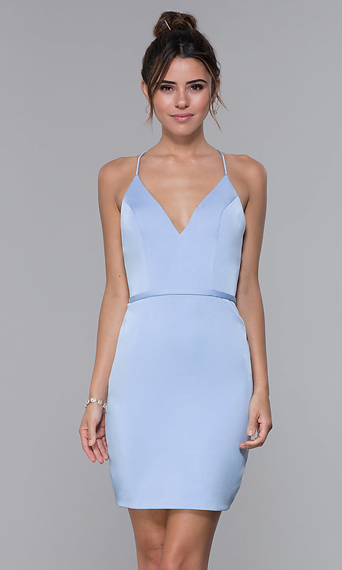 JVNX by Jovani Light Blue Short Homecoming Dress