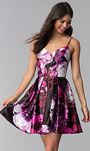 Image of floral-print pink short homecoming dress. Style: JU-10868 Front Image