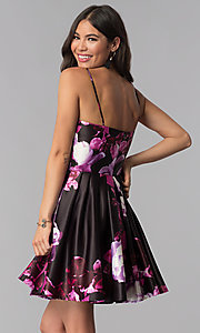Image of floral-print pink short homecoming dress. Style: JU-10868 Back Image