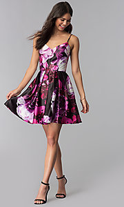 Image of floral-print pink short homecoming dress. Style: JU-10868 Detail Image 3