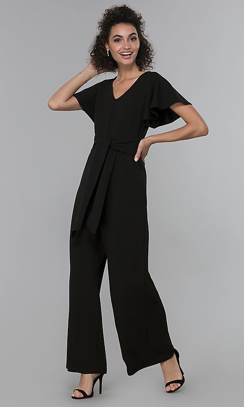 8e87839e3f Image of party-ready v-neck black jumpsuit with wide legs. Style