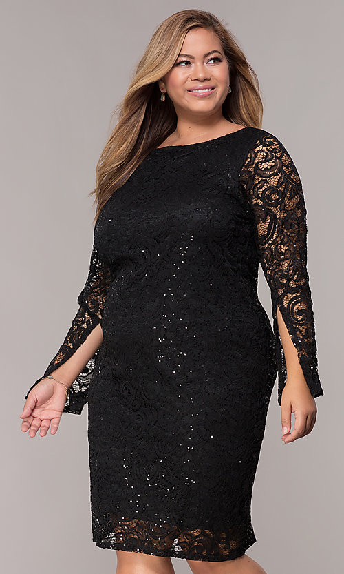 Long-Sleeve Sequin-Lace Short Plus-Size Party Dress