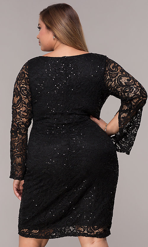 Long Sleeve Sequin Lace Short Plus Size Party Dress