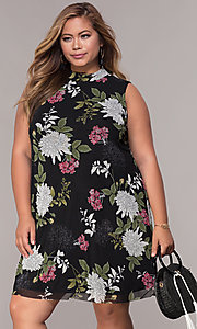 Image of floral-print plus-size short black shift party dress. Style: JU-TI-t91923 Front Image