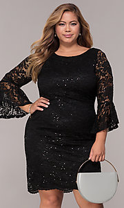 Image of sequin-lace plus-size short black party dress. Style: JU-TI-t91987 Front Image