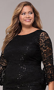 Image of sequin-lace plus-size short black party dress. Style: JU-TI-t91987 Detail Image 1