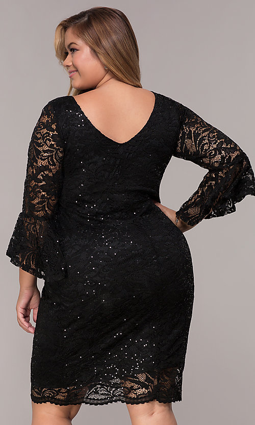 Image of sequin-lace plus-size short black party dress. Style: JU-TI-t91987 Back Image