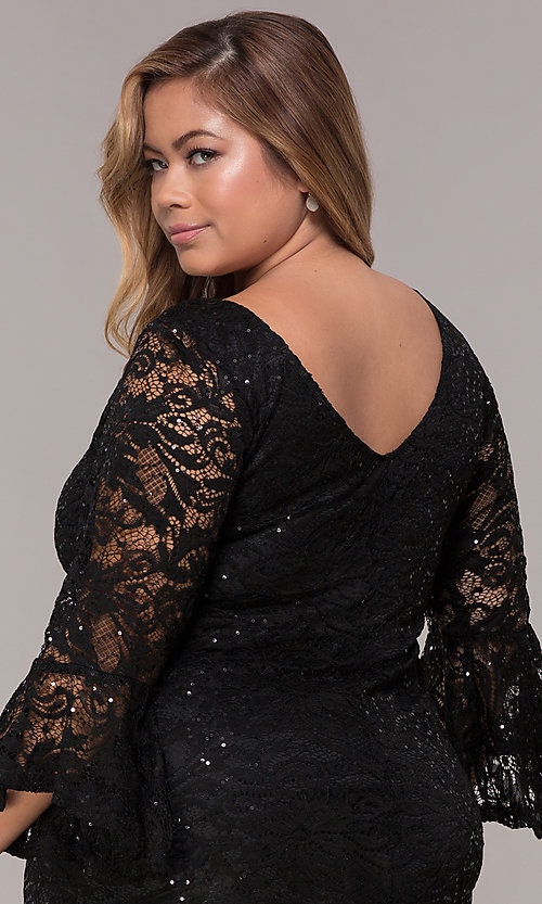 Image of sequin-lace plus-size short black party dress. Style: JU-TI-t91987 Detail Image 2