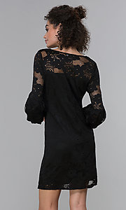 Image of sleeved short black lace wedding-guest party dress. Style: JU-TI-t1717 Back Image