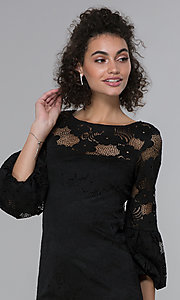 Image of sleeved short black lace wedding-guest party dress. Style: JU-TI-t1717 Detail Image 1