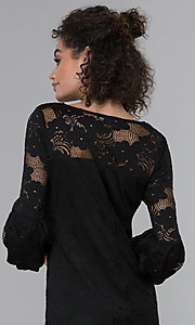 Image of sleeved short black lace wedding-guest party dress. Style: JU-TI-t1717 Detail Image 2