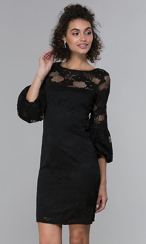 Image of sleeved short black lace wedding-guest party dress. Style: JU-TI-t1717 Front Image