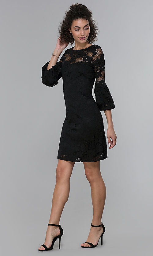 Image of sleeved short black lace wedding-guest party dress. Style: JU-TI-t1717 Detail Image 3