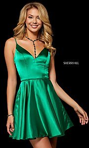 Image of short Sherri Hill homecoming dress in silk charmeuse. Style: SH-52253 Front Image