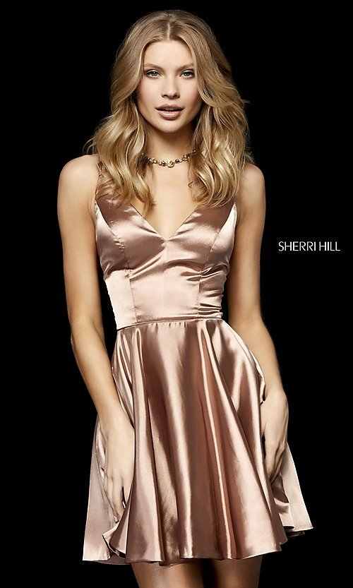 Image of short Sherri Hill homecoming dress in silk charmeuse. Style: SH-52253 Detail Image 1