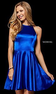 Image of silk fit-and-flare Sherri Hill homecoming dress. Style: SH-52254 Detail Image 1
