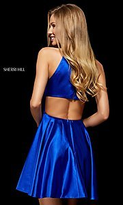 Image of silk fit-and-flare Sherri Hill homecoming dress. Style: SH-52254 Back Image