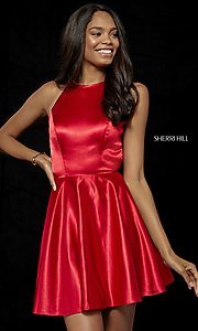 Image of silk fit-and-flare Sherri Hill homecoming dress. Style: SH-52254 Front Image