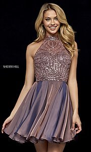 Image of open-back fit-and-flare Sherri Hill homecoming dress. Style: SH-52281 Front Image