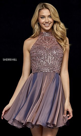 Open-Back Fit-and-Flare Sherri Hill Homecoming Dress