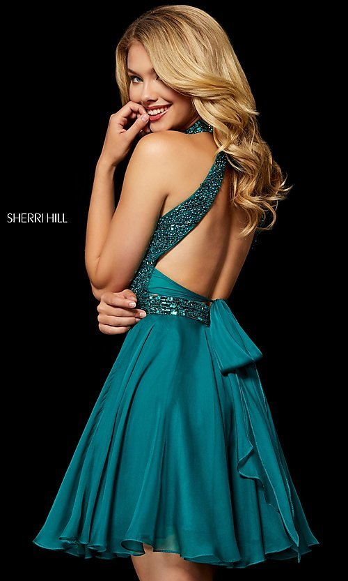 Image of open-back fit-and-flare Sherri Hill homecoming dress. Style: SH-52281 Back Image