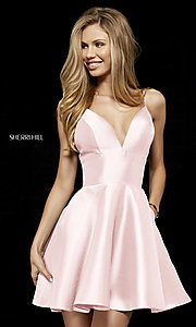 Image of plunging-v-neck homecoming dress with pockets. Style: SH-52379 Detail Image 2