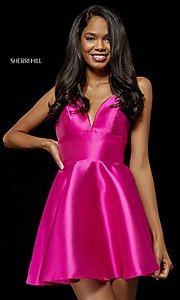 Image of plunging-v-neck homecoming dress with pockets. Style: SH-52379 Detail Image 3