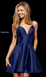 Image of plunging-v-neck homecoming dress with pockets. Style: SH-52379 Detail Image 1