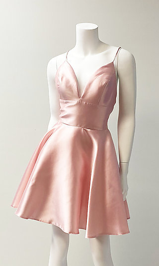 Plunging-V-Neck Homecoming Dress with Pockets