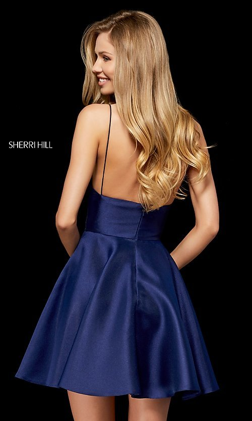 Image of plunging-v-neck homecoming dress with pockets. Style: SH-52379 Back Image