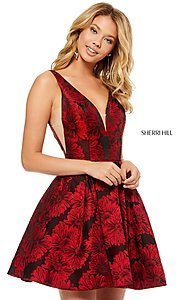 Image of Sherri Hill short print homecoming dress with pockets. Style: SH-52177 Detail Image 3
