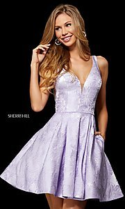 Image of Sherri Hill short print homecoming dress with pockets. Style: SH-52177 Front Image