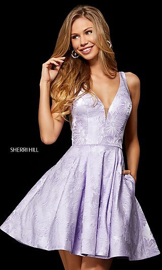 Sherri Hill Short Print Homecoming Dress with Pockets