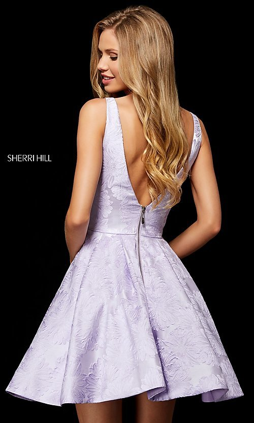 Image of Sherri Hill short print homecoming dress with pockets. Style: SH-52177 Back Image