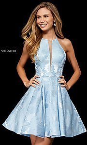 Image of short Sherri Hill homecoming dress with floral print. Style: SH-52178 Front Image