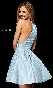 Image of short Sherri Hill homecoming dress with floral print. Style: SH-52178 Back Image