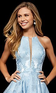 Image of short Sherri Hill homecoming dress with floral print. Style: SH-52178 Detail Image 2