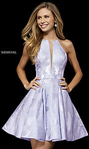 Image of short Sherri Hill homecoming dress with floral print. Style: SH-52178 Detail Image 3