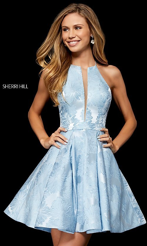 5deee916598 Image of short Sherri Hill homecoming dress with floral print. Style  SH- 52178