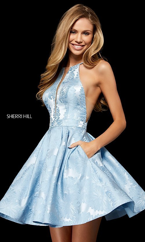 Image of short Sherri Hill homecoming dress with floral print. Style: SH-52178 Detail Image 1