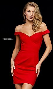 Image of Sherri Hill off-the-shoulder short homecoming dress. Style: SH-52297 Detail Image 1