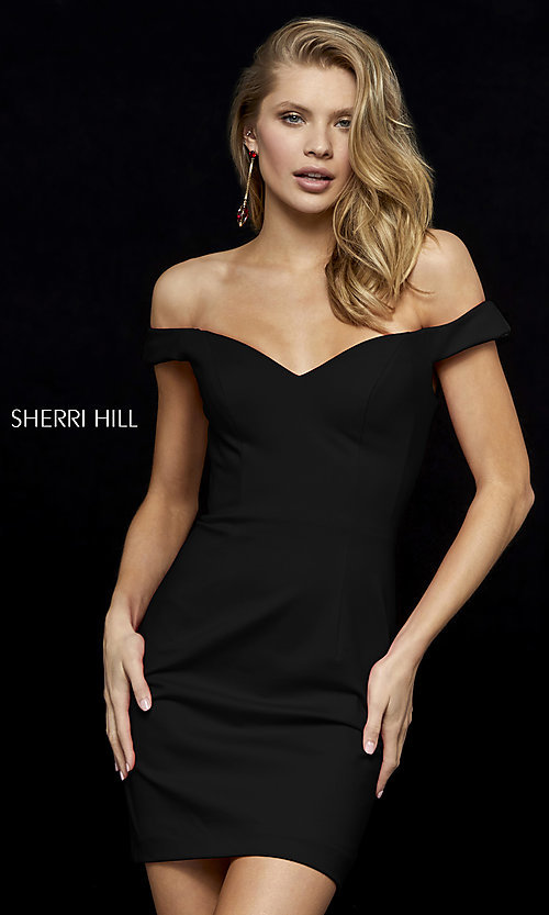 Image of Sherri Hill off-the-shoulder short homecoming dress. Style: SH-52297 Front Image
