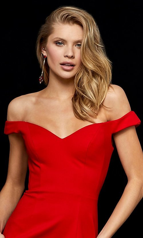Image of Sherri Hill off-the-shoulder short homecoming dress. Style: SH-52297 Detail Image 3