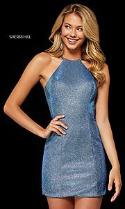 Image of metallic short Sherri Hill homecoming party dress. Style: SH-52357 Front Image