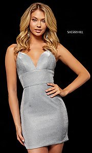 Image of v-neck metallic short homecoming Sherri Hill dress Style: SH-52354 Front Image