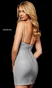 Image of v-neck metallic short homecoming Sherri Hill dress Style: SH-52354 Back Image