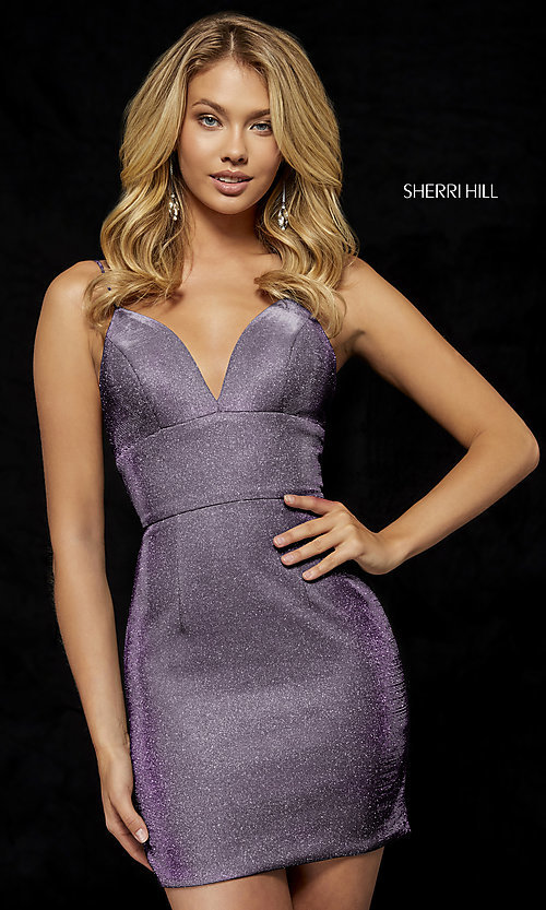 Image of v-neck metallic short homecoming Sherri Hill dress Style: SH-52354 Detail Image 1