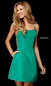 Image of strappy-open-back short Sherri Hill homecoming dress. Style: SH-52154 Detail Image 2